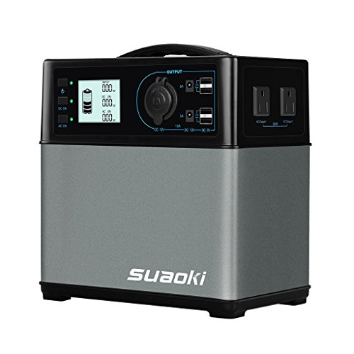 Suaoki 400Wh Portable Solar Generator Power Supply Energy Storage Lithium ion Battery 120Ah Charged by Solar/AC Outlet/Cars with 300W AC Inverter 110V/60Hz DC&USB Outputs Cigarette Lighter Socket (Dc Storage compare prices)
