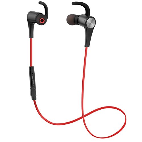 Bluetooth Earphones, SoundPEATS Q12 Bluetooth 4.1 Headphones Stereo Magnetic Earbuds, Secure Fit for Sport, Gym with Built-in Mic (Red)
