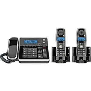 GE Dect 6.0 Black Corded Base Phone with Caller ID, Digital Answering System,and 2 Cordless Accessory Handsets (28871FE3)