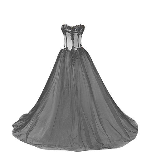 512fc84d5e8 Kivary Women s Sweetheart White and Black Gothic Prom Wedding Dresses US 16