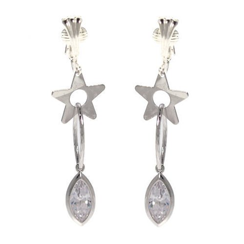 Xing-Xing Silver Plated Crystal Clip On Earrings