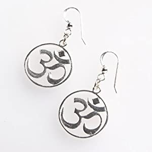 Delicate Om Silver Dipped Earrings on French Hooks