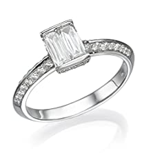 buy 18K White Gold Pave Engagement Ring 1.02 Tcw Baguette Cut Diamond Accented (G-H, Vs) Size 6.5