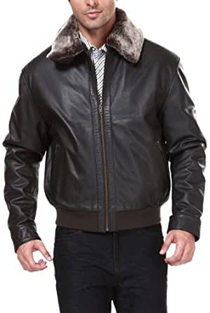 Landing Leathers Men's Cowhide Leather Bomber Jacket - Brown Stone XXLT