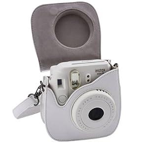 Camera Case PU Leather for Fujifilm Instax Mini 8 Camera, Mini 8+ Instant Film Camera - White by ppstore99