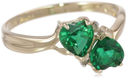 10k Yellow Gold Created Emerald and Diamond Heart Ring (0.02 cttw, I-J Color, I1 Clarity)