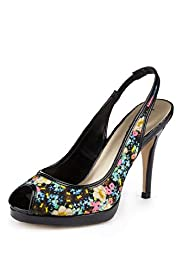 Limited Collection Peep Toe Floral Slingback Shoes