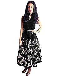 FINIVO FASHION Women's Black Benglory Semi Stitched Western Wear Frock Style Dress