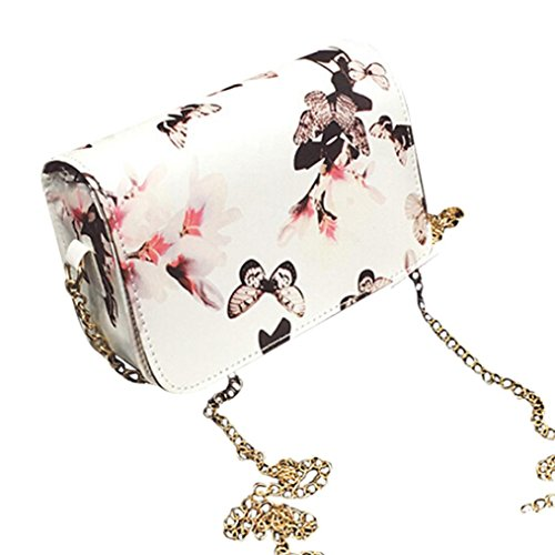 Koly_Le donne floreali in pelle a tracolla Bauletto retro borsa Messenger Bag (bianca)