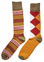 English Laundry 2 Pair Socks Red Mustard and Taupe Diamond and Stripe One Size