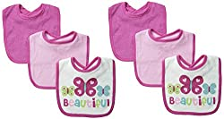 Always Baby Baby-Girls Butterfly 6 Piece Terry Bib Bundle, Butterfly, One Size