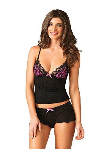 Sexy-Leg-Avenue-Super-Soft-Jersey-Knit-2-Piece-Camisole-Shorts-Set-BlackPink-S-L