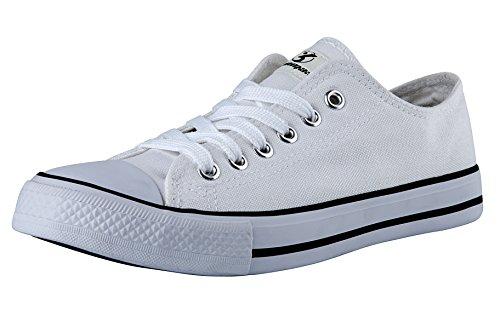 Shinmax nuova tela basse del taglio unisex Tutte le scarpe in pizzo stella stagione up formatori casual per uomo e donna (40, bianco)