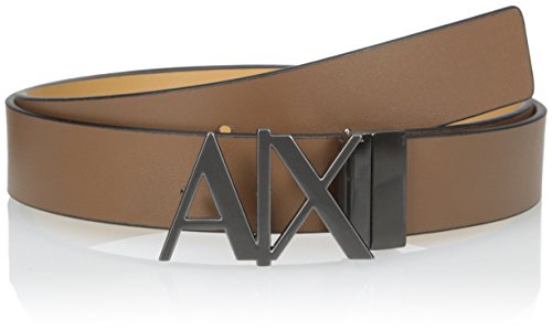 Armani Exchange Men's Leather A|X Hinge Plate Belt, Brown/Camel, 34 (Belts Men Armani compare prices)