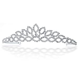 Bling Jewelry Bridal Princess Crown Tiara Rhinestone Crystal Silver Plated