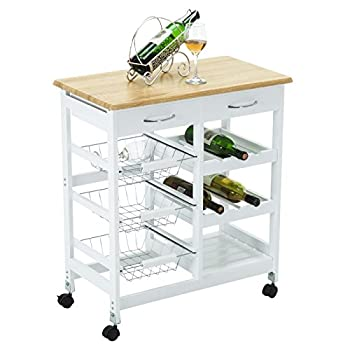 4 Family Kitchen Trolley Island Cart Portable Rolling Storage Table with Drawers & Baskets