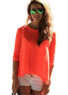 Imvation Women Sexy Loose Casual Backless Chiffon Tees Shirt Tops Blouse Size 6-18