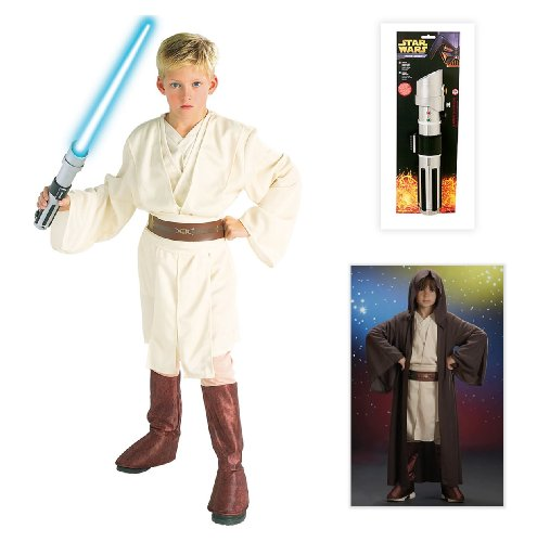 Star Wars Obi-Wan Deluxe Child Costume including Jedi Robe and Lightsaber - Small
