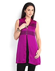 Ira Soleil Set Of Viscose Black Inner & Polyester Satin Pink Women's Kurti