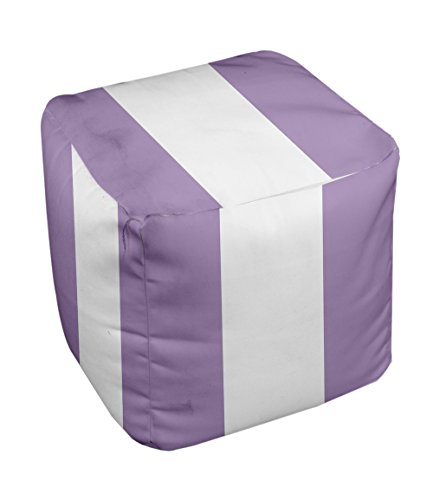 E by design Stripe Pouf, 18-Inch, 3Lilac Purple - 1