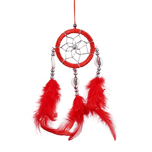 "Lot of 3 Mini Dream Catcher Pure Black Red and Purple Traditonal Native American Dreamcatcher with Feathers 2.4"" Diameter 10"" Long Wall or Car Hanging Ornament Key Chain Ornaments"