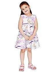 KASHANA Kids Pink Cotton Floral Printed Sleevless Girls Baby Kids Casual Dresses & Frocks