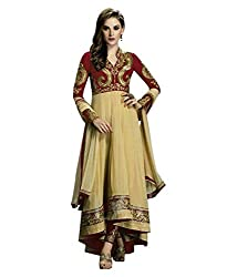 Maruti Creation Women's Georgette Semi-stitched Anarkali Suit Dress Material (MC1022D_FREE_SIZE_RED)