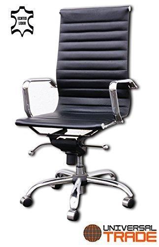 Bürostuhl Schreibtischstuhl Drehstuhl Chefsessel schwarz Echtleder Alpha Elegance inkl. Armlehnenüberzüge