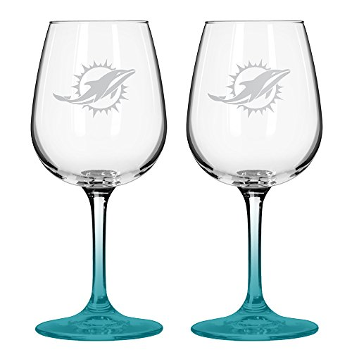 NFL Miami Dolphins Wine Glass, 12-ounce, 2-Pack