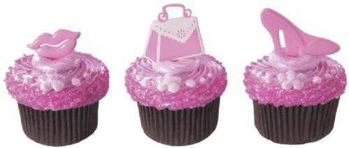 Pretty In Pink Handbag Shoes Party Cupcake Picks Cake Topper front-425052