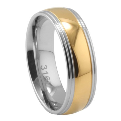 **LEAD FREE** 316L Two Tone Yellow Gold Plated Stainless Steel 7mm Rounded Design Wedding Ring Band (Size 6 to 13) - Size 6