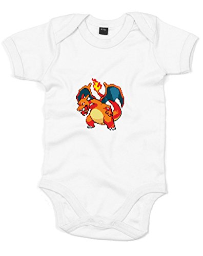 8-Bit Charizard, Printed Baby Grow - White/Transfer 0-3 Months front-1005875