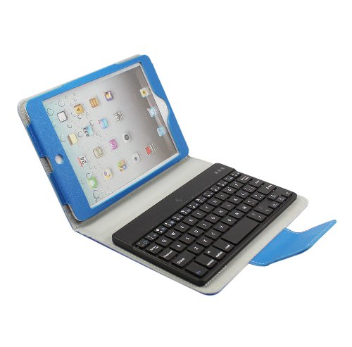 Fome New Wireless Removable Detachable Bluetooth Keyboard Folio Folding Pu Leather Case Magnetic Cover With Stand For Ipad Mini Dark Blue + Fome Gift