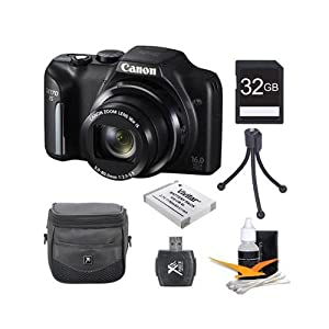 Canon PowerShot SX170 IS 16.0 MP Digital Camera with 16x Optical Zoom and 720p HD Video (Black) Super Bundle With DigPro 32GB High Speed Card , Digpro Deluxe Case, Deluxe Cleaning Kit ,Spare Battery, Tripod