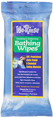 No Rinse Bathing Wipes (8 count each) - 5 Pack (40 wipes) (Waterless Shower compare prices)