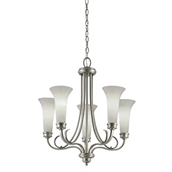 portfolio 5 light antique pewter chandelier