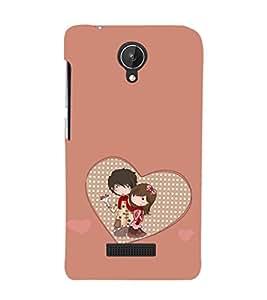 EPICCASE Cute Couple Mobile Back Case Cover For Micromax Canvas Spark Q380 (Designer Case)