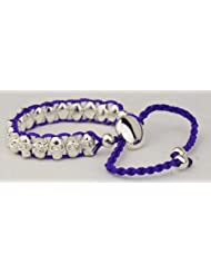 Purple skull friendship bracelet quality silver plated woven links on colour cord Shamballa beads silver unisex...