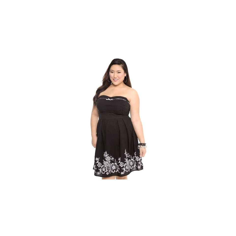 Torrid Plus Size Black and White Embroidered Tube Dress on ...