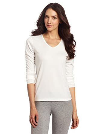 Cuddl Duds Women's Lace Edge Long Sleeve V-neck, Cream, Large