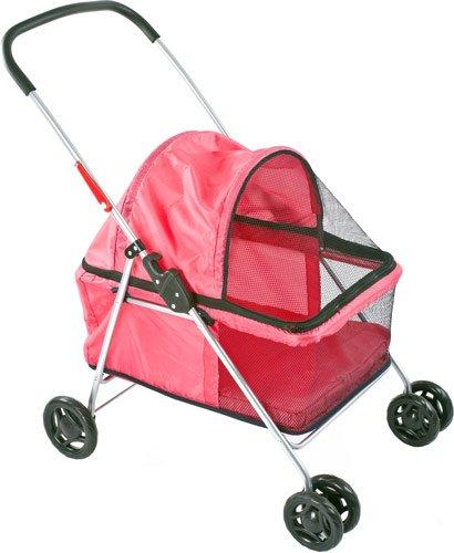 Large Pink Basket-Style Folding Pet Carrier Stroller front-493463