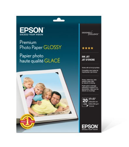 Epson Premium Photo Paper GLOSSY (8×10 Inches, 20 Sheets) (S041465)