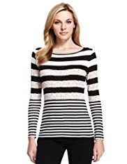 M&S Collection Lace Striped Top with StayNEW™