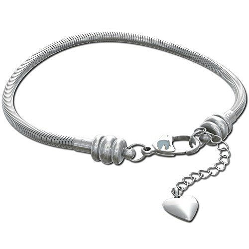 CHARM BRACELET for Women & Girls, BONUS Jewelry Bag, Steel Snake Chain Bracelets, Fits Pandora Charms! Lobster Claw Clasp, 8 Inch (Italian Charm Bracelet Mom compare prices)