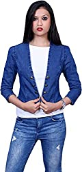 Style Souk Women's Regular Fit Jacket (Skj002, Blue, Large)