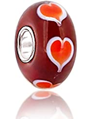 Murano Red Heart Love Goes Round Bead 925 Sterling Silver Core Bead Fits Pandora Charm Bracelet