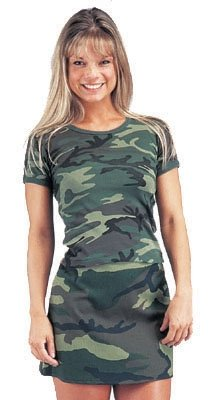 Girls' Woodland Camouflage Ribbed Cotton T Shirt