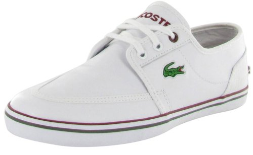 Lacoste Haynt Mens White Canvas Leather Sneakers Shoes Size 13