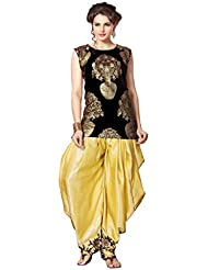 Western Woven Kurta & Dhoti Pant & Jacket By Fabkaz (Black & Golden)