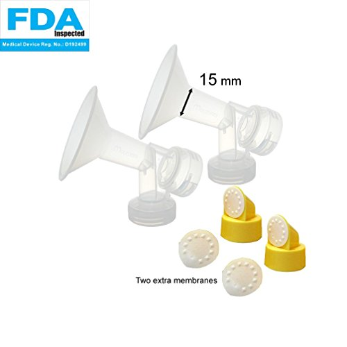 Find Discount 15 mm 2xOne-Piece Extra Small Breastshield w/ Valve and Membrane for Medela Breast Pum...